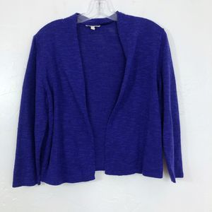 Eileen Fisher Purple Open Front Cropped Cardigan